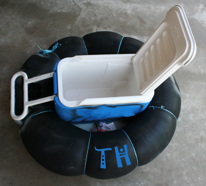 Photo of a Cooler Tube (inner tube) for your Cooler or Ice Chest - Open 40 quart Coleman or Igloo Cooler / Ice Chest for river tubing - TubeHaus.com