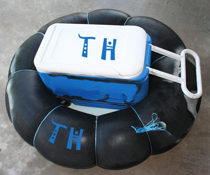 Inner Tube used for 28 quart up to 50 quart Coolers and Ice Chests for float trips and guadalupe river tubing - TubeHaus.com