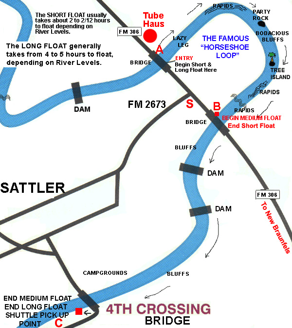 Guadalupe River Tubing Float Map for Tube Haus, Short, Medium & Long Floats to choose from!